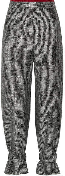 Fendi - Chiffon-trimmed Wool-blend Jacquard Tapered Pants - Gray