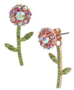 Betsey Johnson Fruit Flies Crystal Flower Front Back Earrings