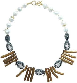 Farra - Rhinestones Bordered Pearls With Golden Coral Branch Statement Necklace