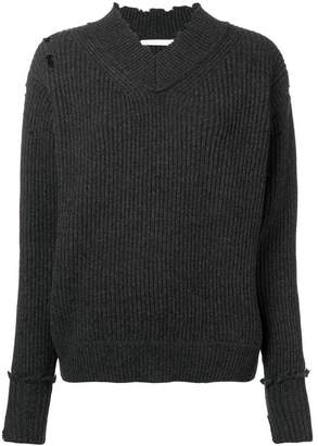 Helmut Lang distressed ribbed knit sweater