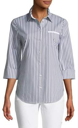 Lafayette 148 New York Paget Highbridge Striped 3/4-Sleeve Button-Front Top