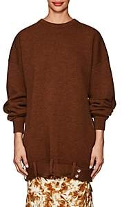 Victoria Beckham Women's Virgin Wool Belted Oversized Sweater-Chestnut Melange