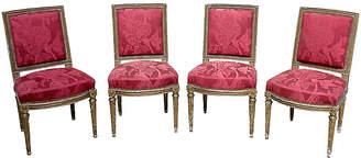 One Kings Lane Vintage Louis XVI-Style Damask Chairs - Set of 4 - Vermilion Designs