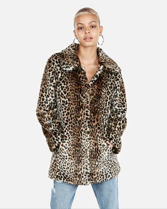 Express Petite Faux Fur Leopard Coat