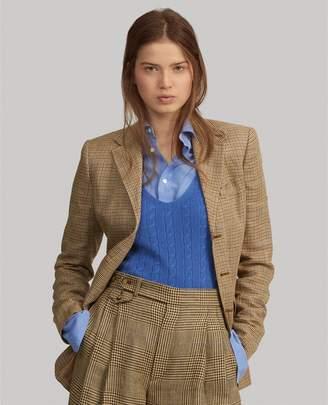 Ralph Lauren Houndstooth Linen-Silk Blazer