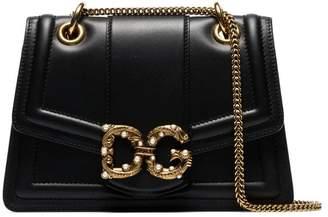 Dolce & Gabbana black embellished leather shoulder bag