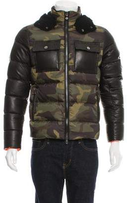 Michael Kors Leather-Trimmed Down Jacket