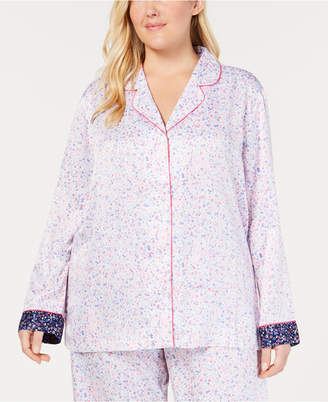 Charter Club Plus Size Notch-Collar Pajama Top