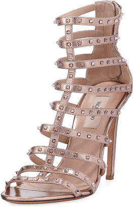 Valentino Lovestuds 105mm Caged Metallic Napa Sandals