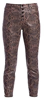J Brand Women's Lillie Snakeskin-Print Coated Cropped Pants