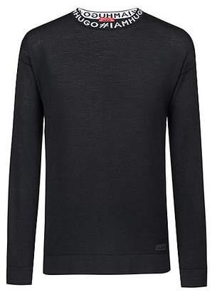 HUGO BOSS Oversized-fit sweater in virgin wool with slogan intarsia