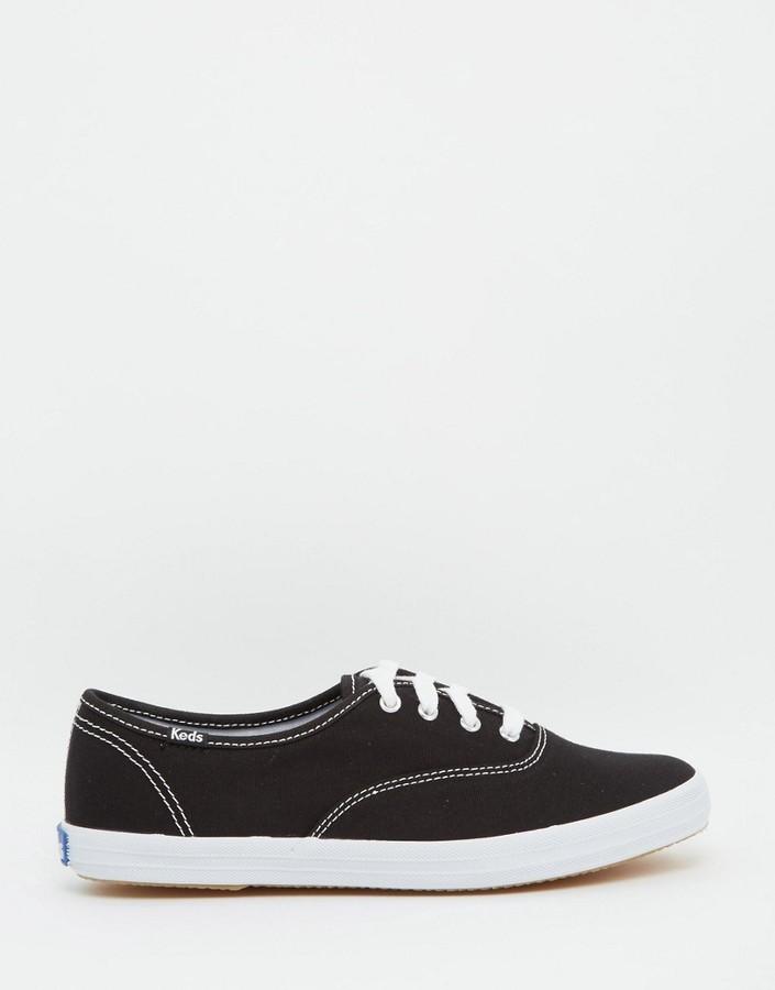 keds chion canvas black white plimsoll shoes
