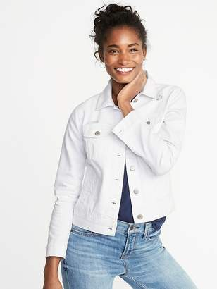 Old Navy Distressed White Denim Jacket for Women