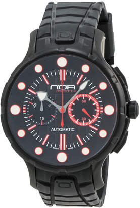 N.O.A. Watches Rubber-Strap Chronograph Watch, Black/Red