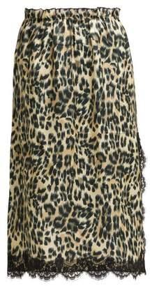 Icons Carnation Leopard Print Satin Midi Skirt - Womens - Leopard