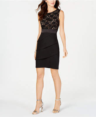 Connected Tiered Sequined Lace Sheath Dress