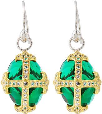 Jude Frances Fleur-over-Stone Drop Earrings in Green Quartz