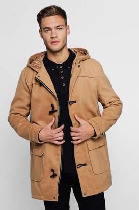 boohoo Wool Look Hooded Duffle Coat