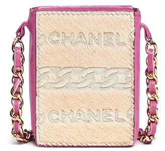Vintage Chanel Embossed logo ponyhair mini handbag