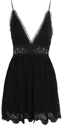 Zimmermann - Curacao Lace-paneled Broderie Anglaise Silk-chiffon Playsuit - Black $630 thestylecure.com