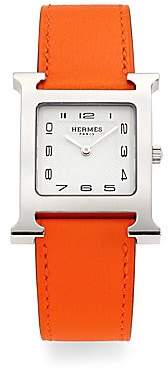HERMÃS HERMÃS Women's Heure H Stainless Steel& Leather Strap Watch/Orange