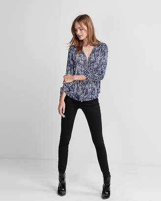 Express Printed Ruched Sleeve Zip-Front Shirt