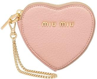 Miu Miu madras leather heart keychain