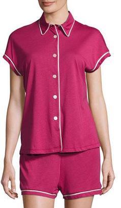 Cosabella Bella Cap-Sleeve Pajama Set, Blue/Pink $115 thestylecure.com