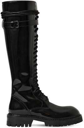Ann Demeulemeester 30mm Tall Polished Leather Boots