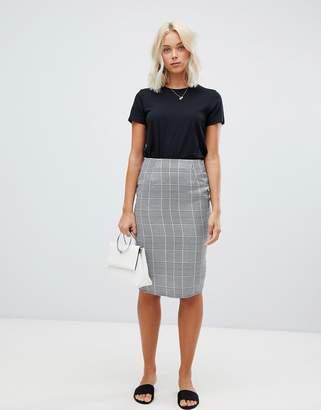 Parisian check pencil midi skirt
