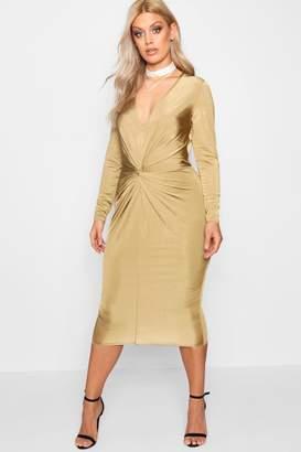 boohoo Plus Slinky Knot Front Midi Dress