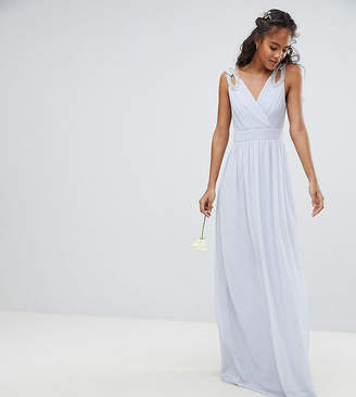 TFNC Tall Wrap Front Maxi Bridesmaid Dress With Embellished Shoulder