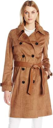 Via Spiga Women's Faux Suede Double Breasted Trench Coat
