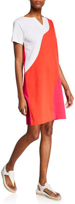Joan Vass Wave Colorblock Slit-Neck Short-Sleeve Stretch-Pique Dress
