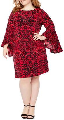 Ronni Nicole Long Sleeve Scroll Sheath Dress - Plus