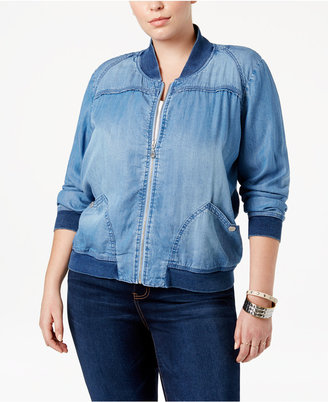 American Rag Trendy Plus Size Chambray Bomber Jacket, Only at Macy's $79.50 thestylecure.com