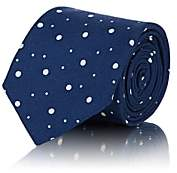 Tie Your Tie Men's Polka Dot Textured-Silk Necktie - Blue