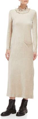 Hache Mock Neck Long Sleeve Velour Maxi Dress
