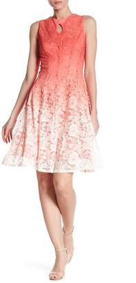 Gabby Skye Ombre Lace Front Keyhole Dress