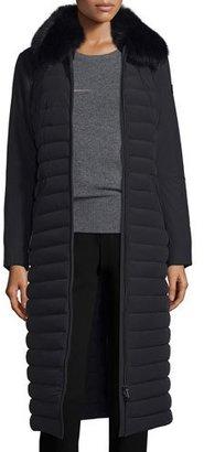 Peuterey Quilted Long Fur-Trim Coat, Nero $1,195 thestylecure.com