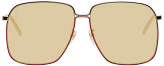 Gucci Gold and Yellow Square Sunglasses