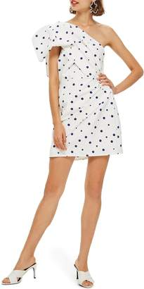 Topshop Dot One-Shoulder Bow Minidress