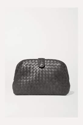 Bottega Veneta Lauren Metallic Intrecciato Leather Clutch - Gray