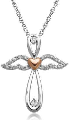 Silver Cross FINE JEWELRY 1/10 CT. T.W. Diamond Sterling Silver & 14K Rose Gold over & Angel Pendant Necklace