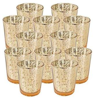 """Just Artifacts Mercury Glass Votive Candle Holder 2.75""""H (12pcs, Speckled Gold) -Mercury Glass Votive Tealight Candle Holders for Weddings, Parties and Home Decor"""