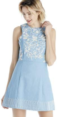 Embroidered Denim Dress $83 thestylecure.com