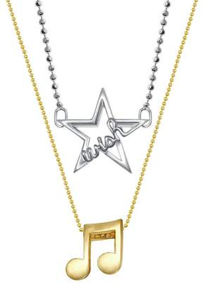 Alex Woo 14K Yellow Gold & Sterling Silver Little Words Wish & Music Note Pendant Necklace - Set of 2