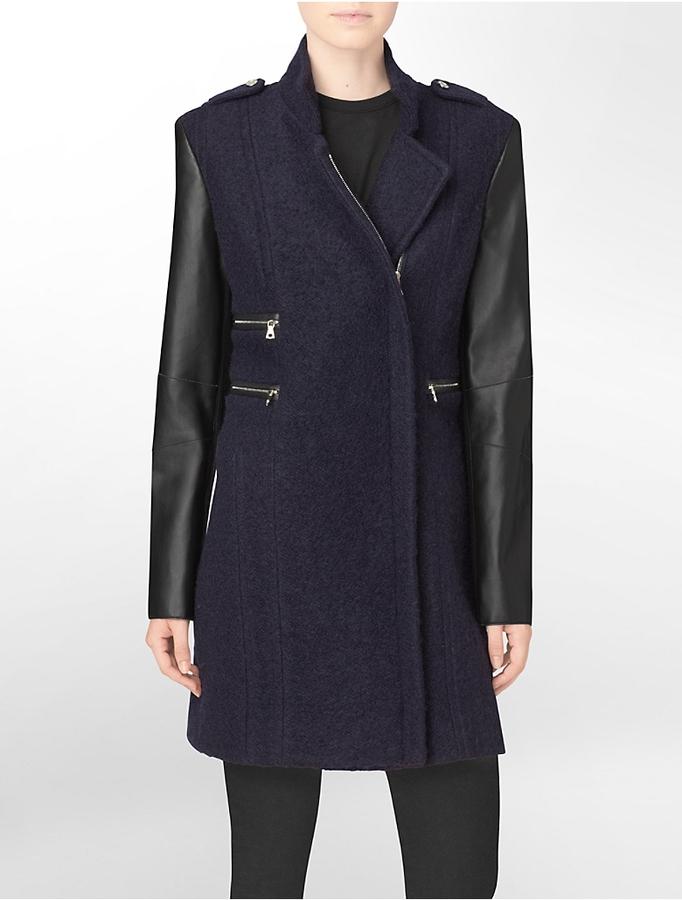 Calvin Klein Zip Detail + Faux Leather Accent Boucle Jacket