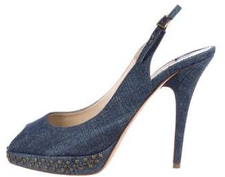 Jimmy Choo Denim Studded Sandals