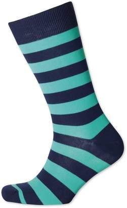 Charles Tyrwhitt Mint and Navy Wide Stripe Socks Size Medium